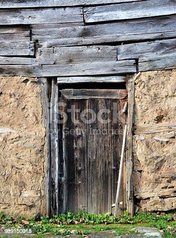 Wooden door on adobe wall backgrounds