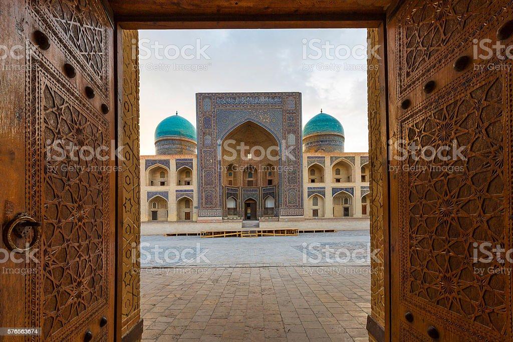 Wooden door open. stock photo
