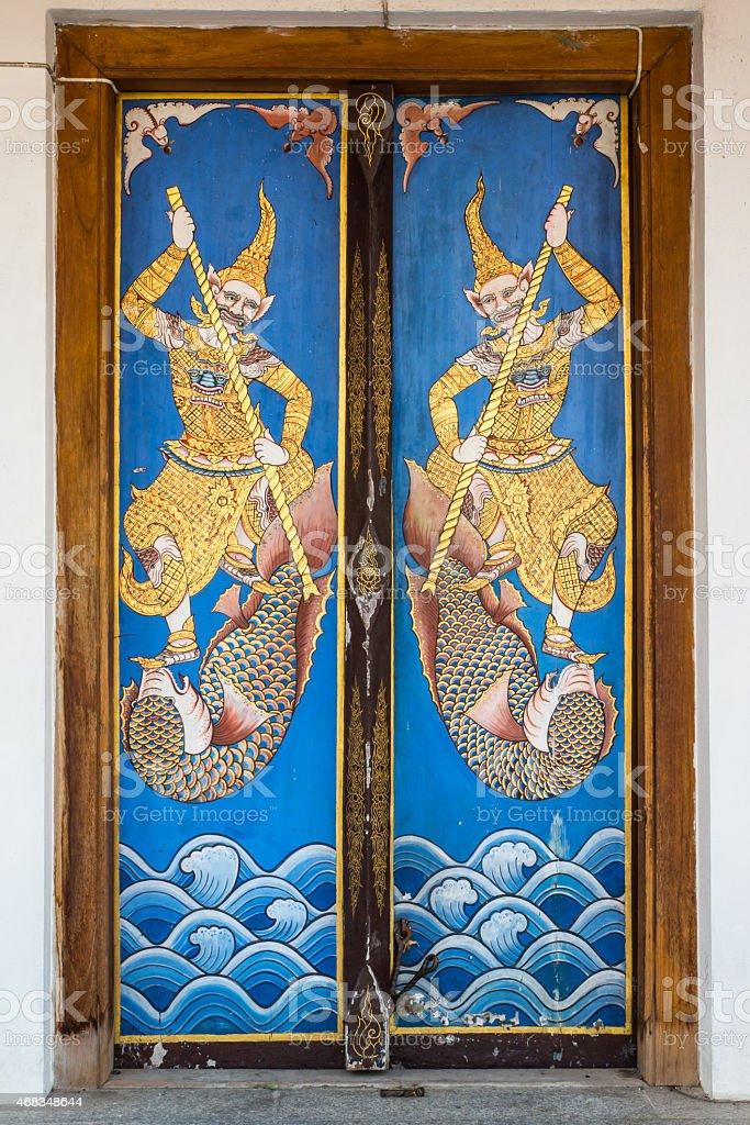 Wooden door painting royalty-free stock photo