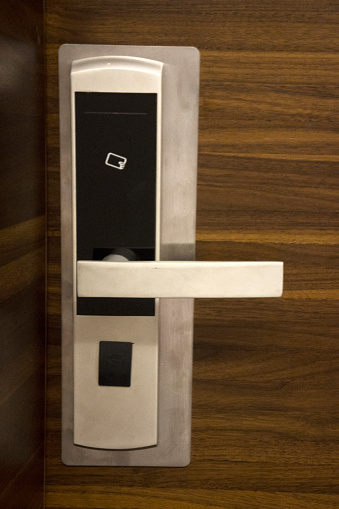 Door with security lock in hotel resort