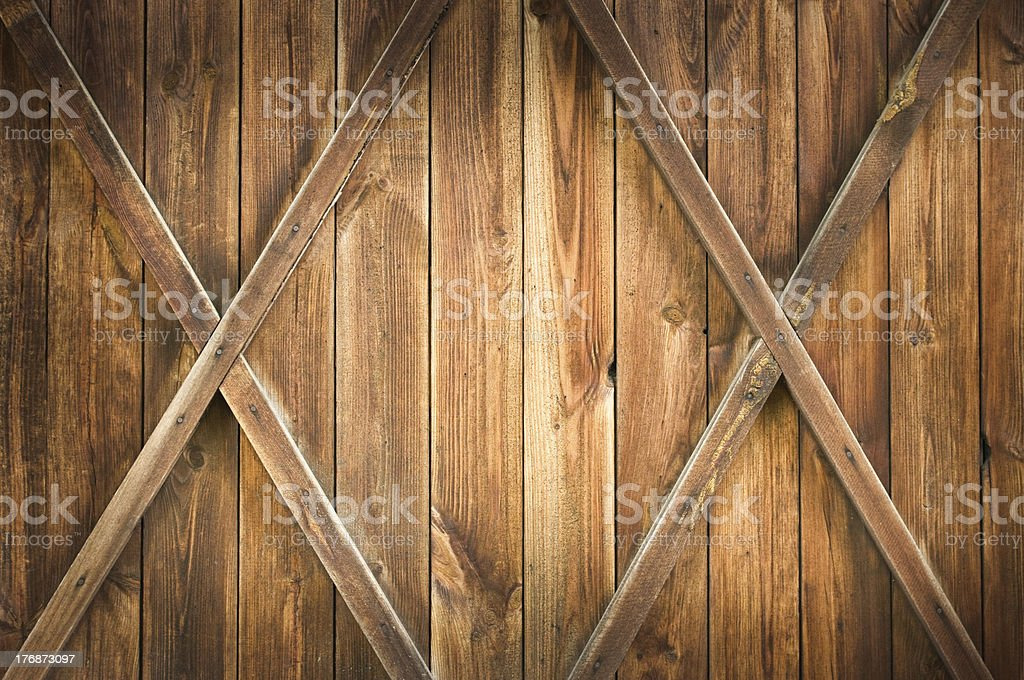 Wooden door with two crosses stock photo