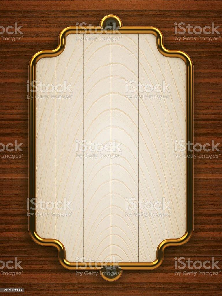 Wooden doorplate vertical stock photo