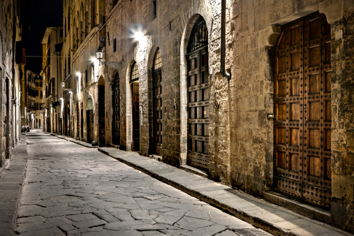 Wooden Doors in Ancient Alley, HDR Firenze at Night