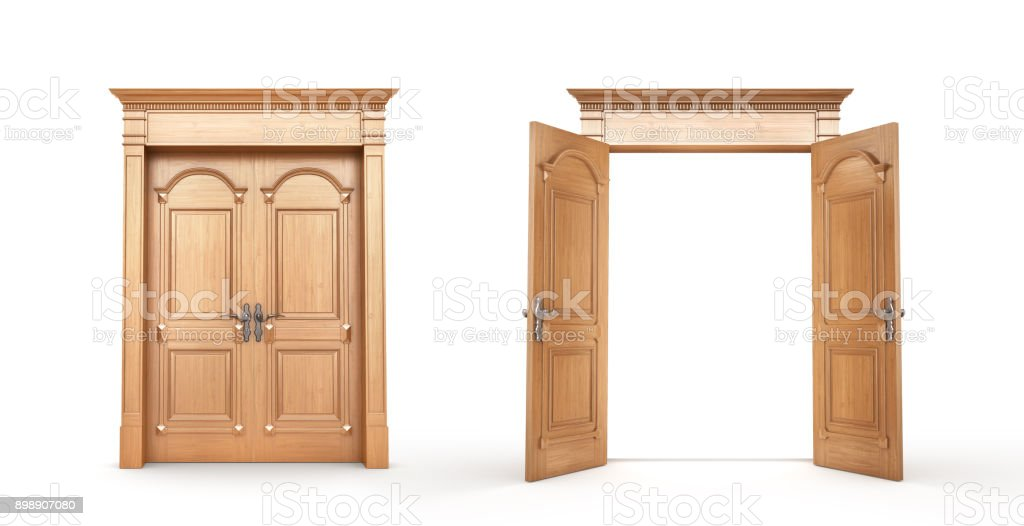 Wooden doors isolated on a white. Opened and closed. stock photo