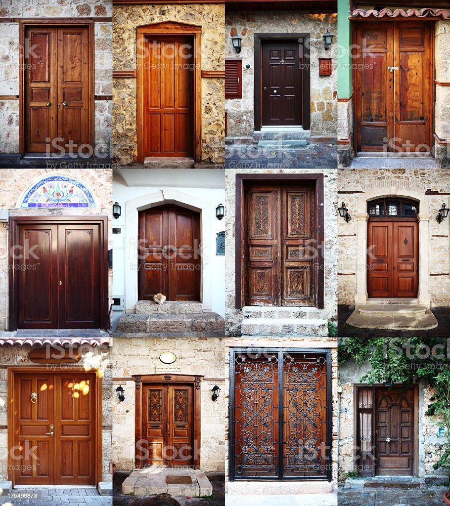 Wooden Doors of Kaleici, Antalya Turkey stock photo