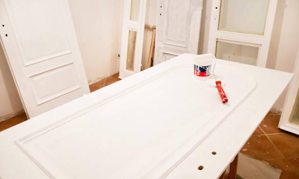 Wooden doors restoration stock photo