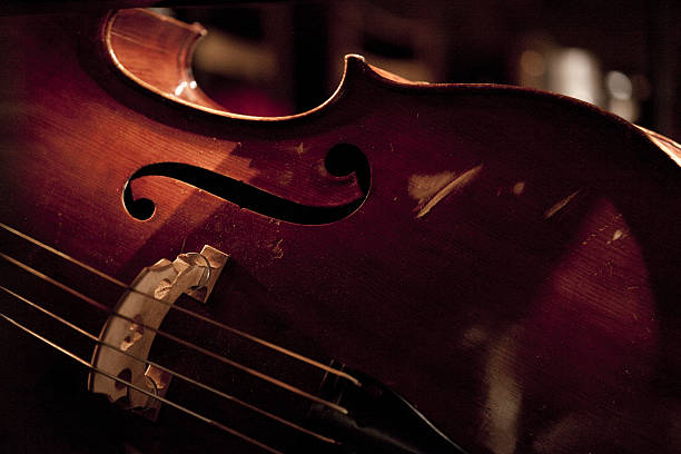 wooden double bass in the stage before classical concert stock photo