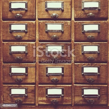 istock Wooden drawers with clear blanks 483960207