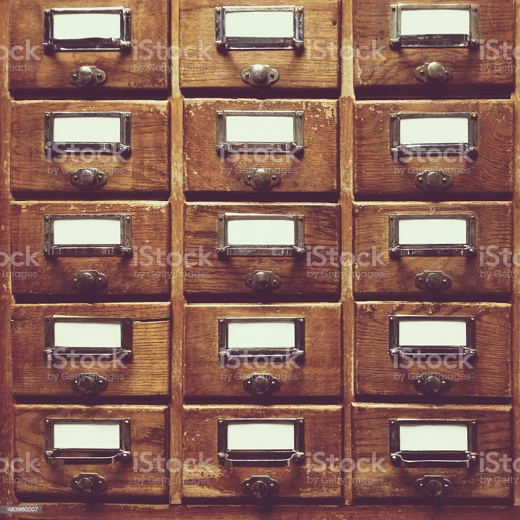 Wooden drawers with clear blanks stock photo