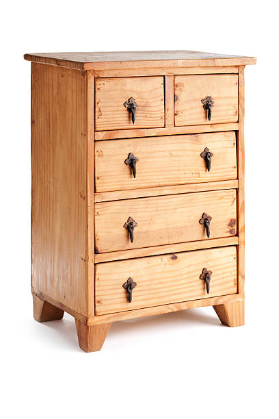 Wooden Dresser Cabinet, Rustic Furniture with Drawers Isolated on White stock photo