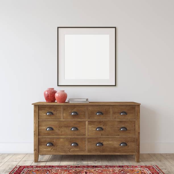 Wooden dresser. Interior mockup. 3d rendering. stock photo