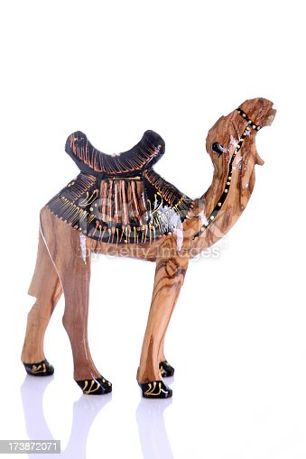Studio shot of a Wood dromedary souvenir from Tunisia isolated on white background