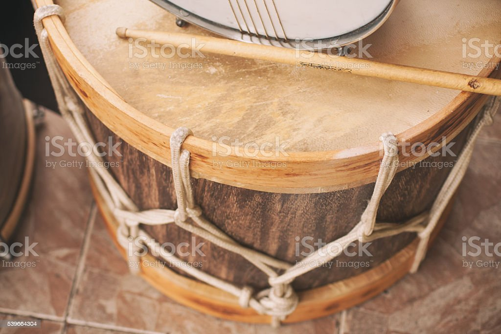 Wooden Drum Bass stock photo