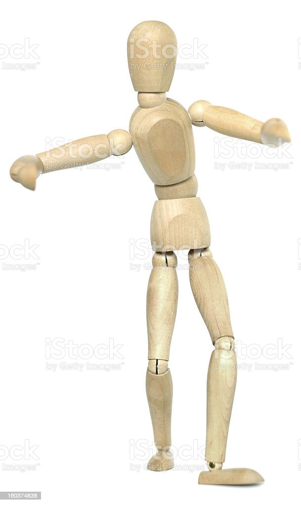 Wooden Dummy gives a hug royalty-free stock photo