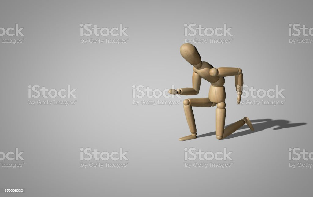 wooden dummy in the start position royalty-free stock photo