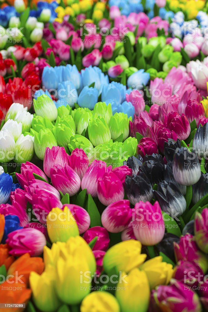 Wooden Dutch Tulips, Amsterdam royalty-free stock photo