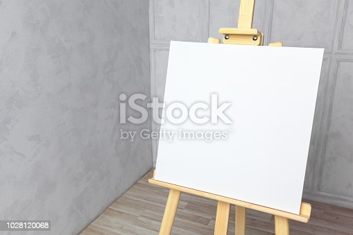 671393252 istock photo Wooden easel in the room 1028120068