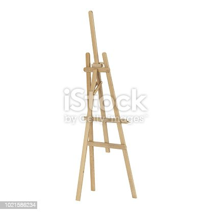 1021586250istockphoto Wooden easel. Isolated on white background. 3D rendering. 1021586234