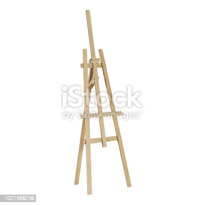 1021586250istockphoto Wooden easel. Isolated on white background. 3D rendering. 1021586236