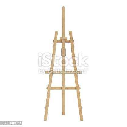 1021586250istockphoto Wooden easel. Isolated on white background. 3D rendering. 1021586246