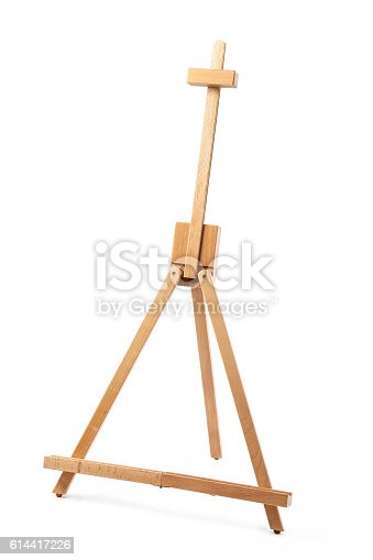 614417422 istock photo Wooden easel on white background 614417226