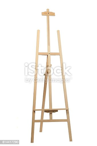 614417422 istock photo Wooden easel on white background 614417290