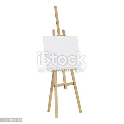 1021586250istockphoto Wooden easel with an empty mockup. Isolated on white background. 3D rendering. 1021586214
