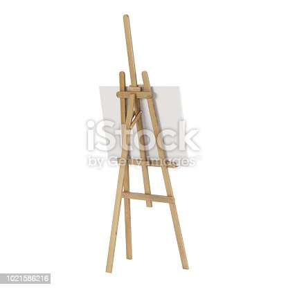 1021586250istockphoto Wooden easel with an empty mockup. Isolated on white background. 3D rendering. 1021586216