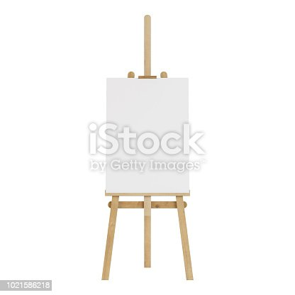 1021586250istockphoto Wooden easel with an empty mockup. Isolated on white background. 3D rendering. 1021586218