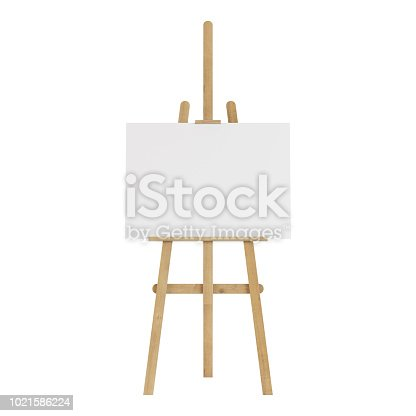 1021586250istockphoto Wooden easel with an empty mockup. Isolated on white background. 3D rendering. 1021586224