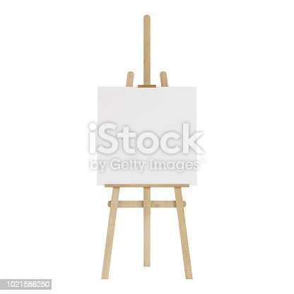 1021586250istockphoto Wooden easel with an empty mockup. Isolated on white background. 3D rendering. 1021586250