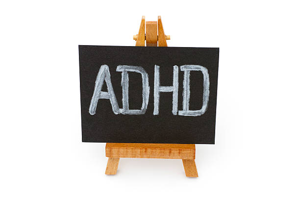 Wooden easel with blackboard with letters ADHD stock photo