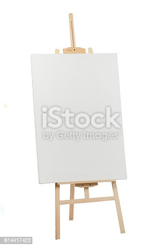 istock Wooden easel with blank canvas 614417422