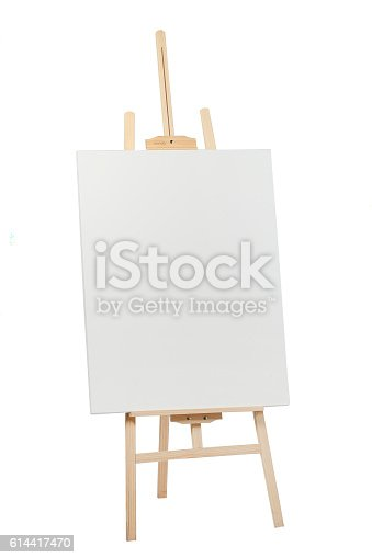 istock Wooden easel with blank canvas 614417470