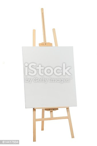 614417422 istock photo Wooden easel with blank canvas 614417534