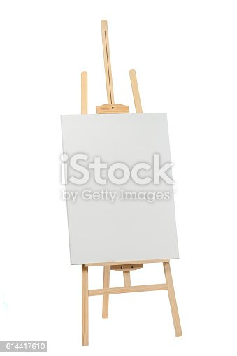 614417422 istock photo Wooden easel with blank canvas 614417610