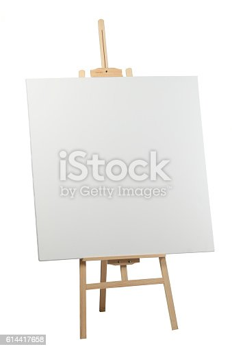 istock Wooden easel with blank canvas 614417658