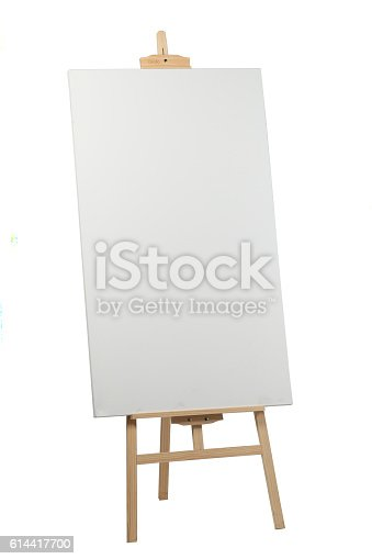 614417422 istock photo Wooden easel with blank canvas 614417700