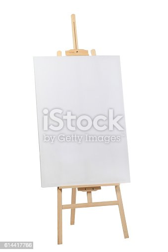 614417422 istock photo Wooden easel with blank canvas 614417766