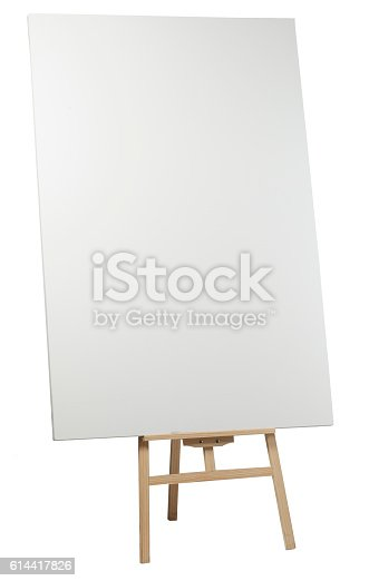 istock Wooden easel with blank canvas 614417826