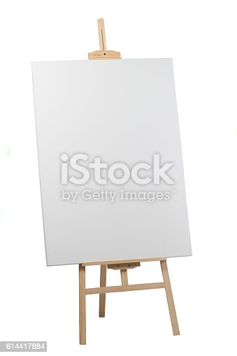 istock Wooden easel with blank canvas 614417884