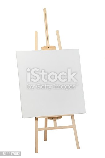 614417422 istock photo Wooden easel with blank canvas 614417952