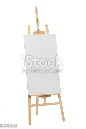 614417422 istock photo Wooden easel with blank canvas 614418300