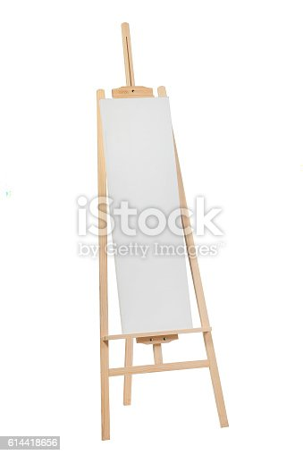 614417422 istock photo Wooden easel with blank canvas 614418656