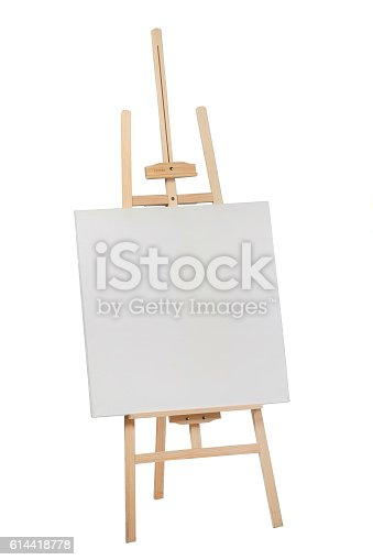 istock Wooden easel with blank canvas 614418778