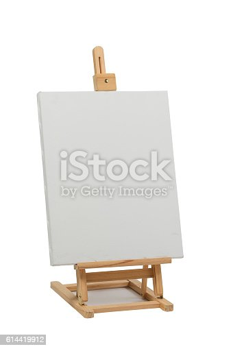 614417422 istock photo Wooden easel with blank canvas 614419912