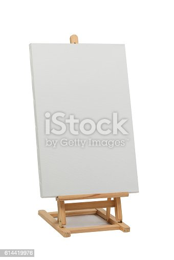 614417422 istock photo Wooden easel with blank canvas 614419976