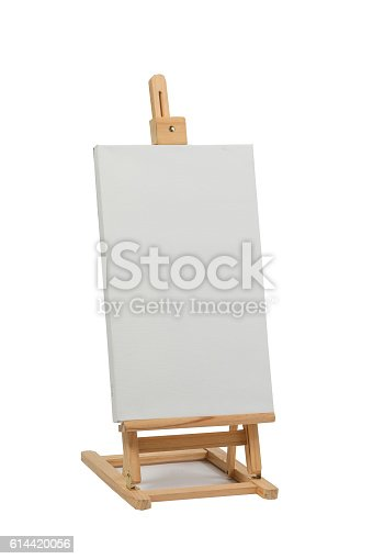 614417422 istock photo Wooden easel with blank canvas 614420056
