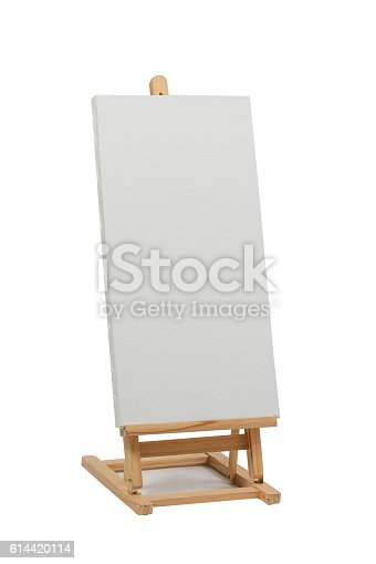 istock Wooden easel with blank canvas 614420114