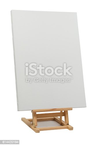 614417422 istock photo Wooden easel with blank canvas 614420194